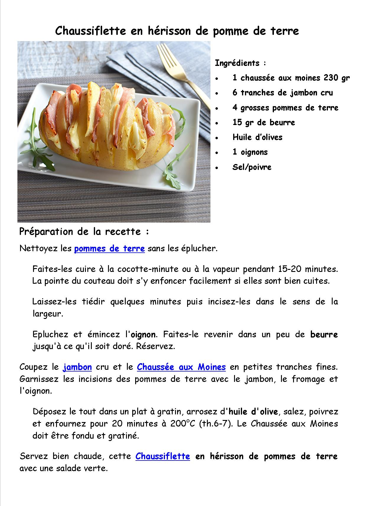Chaussiflette en herisson de pomme de terre